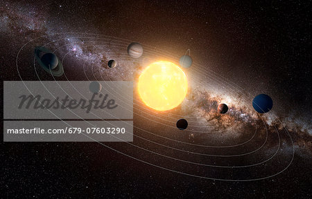 Solar system, computer artwork. Stock Photo - Premium Royalty-Free, Image code: 679-07603290