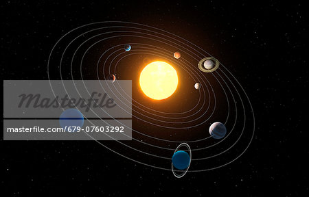 Solar system, computer artwork. Stock Photo - Premium Royalty-Free, Image code: 679-07603292