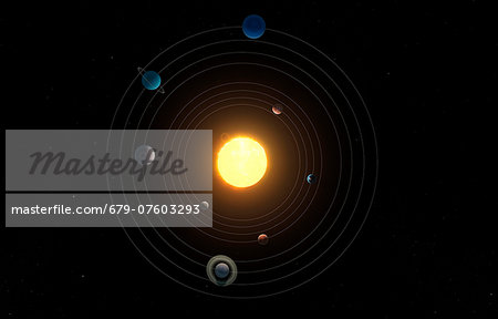 Solar system, computer artwork. Stock Photo - Premium Royalty-Free, Image code: 679-07603293