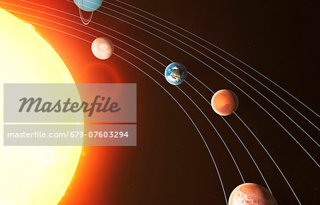 Solar system, computer artwork. Stock Photo - Premium Royalty-Free, Image code: 679-07603294