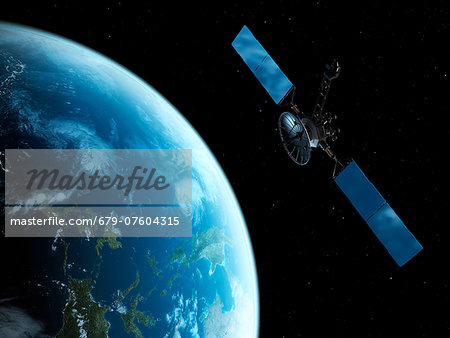 Satellite, computer artwork. Stock Photo - Premium Royalty-Free, Image code: 679-07604315