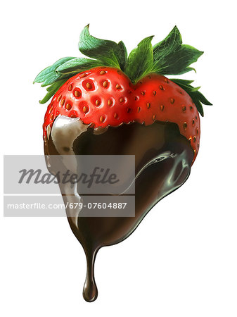 Chocolate-dipped strawberry, computer artwork. Stock Photo - Premium Royalty-Free, Image code: 679-07604887