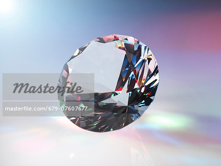 Diamond refracting light. Stock Photo - Premium Royalty-Free, Image code: 679-07607677