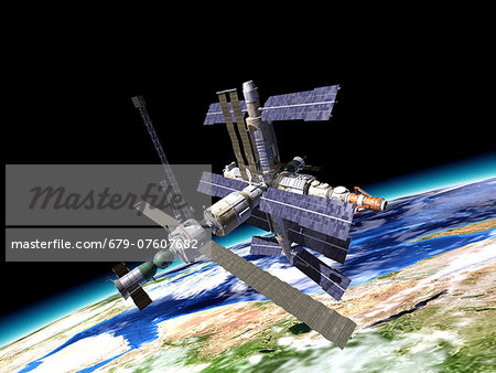 Space station in Earth orbit, artwork. Stock Photo - Premium Royalty-Free, Image code: 679-07607682