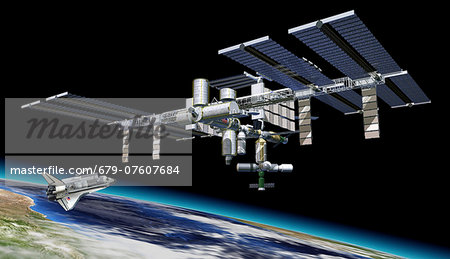 International space station and shuttle, artwork. Stock Photo - Premium Royalty-Free, Image code: 679-07607684