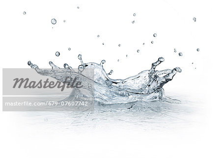 Water drop impact, artwork. Stock Photo - Premium Royalty-Free, Image code: 679-07607742