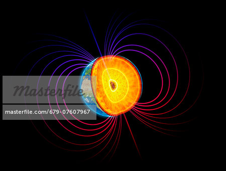 Artwork of the earth's core and magnetosphere. Stock Photo - Premium Royalty-Free, Image code: 679-07607967