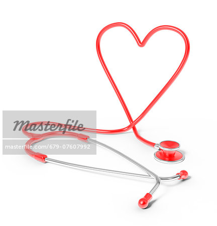Stethoscope in the shape of heart, studio shot. Stock Photo - Premium Royalty-Free, Image code: 679-07607992