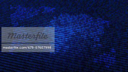 Artwork of a world map in binary code. Stock Photo - Premium Royalty-Free, Image code: 679-07607998