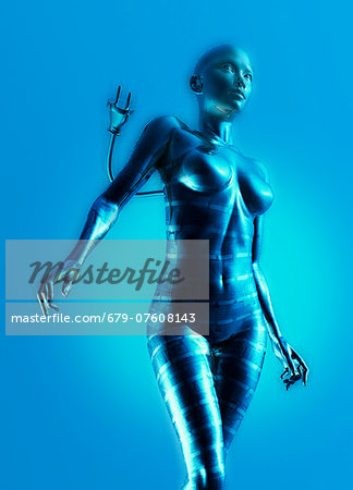 Artwork of female cyborg against a blue background. Stock Photo - Premium Royalty-Free, Image code: 679-07608143