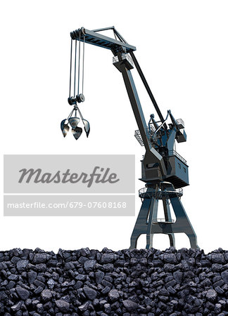 Artwork of coal mining. Stock Photo - Premium Royalty-Free, Image code: 679-07608168