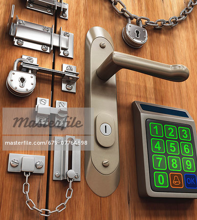 Door with various locks, conceptual artwork, Stock Photo - Premium Royalty-Free, Image code: 679-07764698