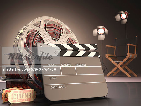 Clapperboard and cinema film reel, computer artwork. Stock Photo - Premium Royalty-Free, Image code: 679-07764700