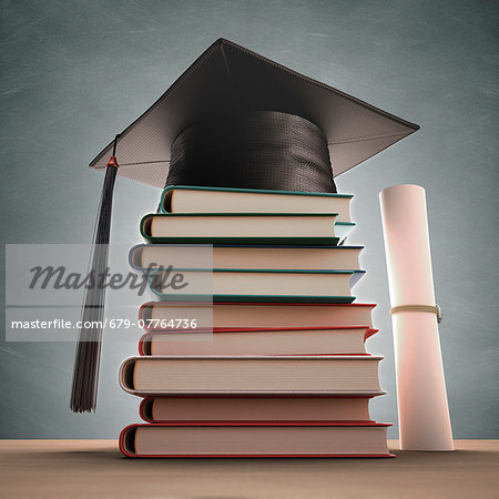Mortar board on a stack of books, computer artwork. Stock Photo - Premium Royalty-Free, Image code: 679-07764736