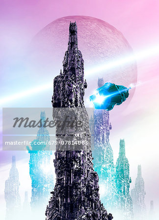 Space craft and cityscape Stock Photo - Premium Royalty-Free, Image code: 679-07814063