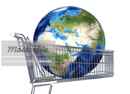 The globe inside a supermarket shopping trolley, computer artwork. Stock Photo - Premium Royalty-Free, Image code: 679-07846184