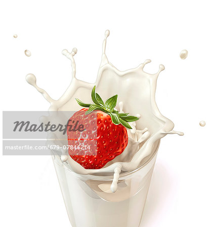Strawberry splashing into milk, computer artwork. Stock Photo - Premium Royalty-Free, Image code: 679-07846214