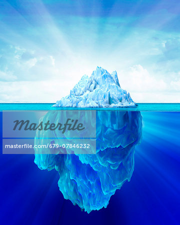 Tip of an iceberg, computer artwork. Stock Photo - Premium Royalty-Free, Image code: 679-07846232