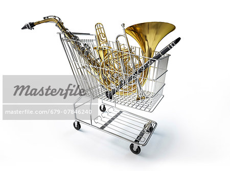 Supermarket shopping trolley filled with musical instruments, computer artwork. Stock Photo - Premium Royalty-Free, Image code: 679-07846240
