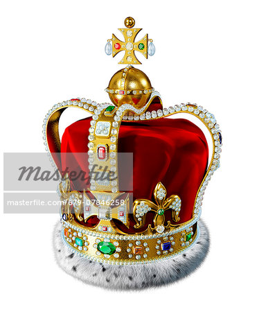 Crown with jewels, computer artwork. Stock Photo - Premium Royalty-Free, Image code: 679-07846258