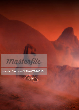 Ancient sculptures on Mars, computer artwork. Stock Photo - Premium Royalty-Free, Image code: 679-07846315