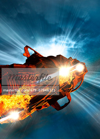 Space craft, computer artwork. Stock Photo - Premium Royalty-Free, Image code: 679-07846321