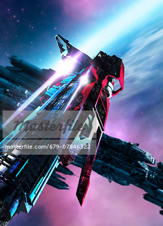 Space craft, computer artwork. Stock Photo - Premium Royalty-Free, Image code: 679-07846322