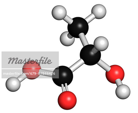 Lactic acid (L-lactic acid) milk sugar molecule. Building block of polylactic acid (PLA) bioplastic. Found in milk. Atoms are represented as spheres with conventional colour coding: hydrogen (white), carbon (grey), oxygen (red). Stock Photo - Premium Royalty-Free, Image code: 679-07846426