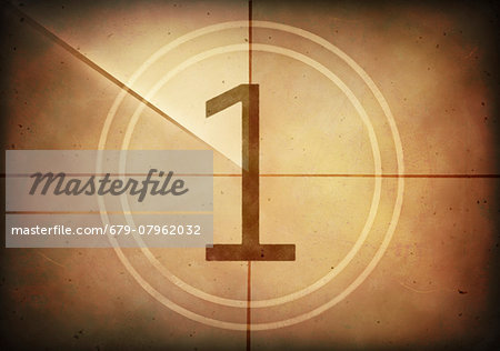 Vintage movie countdown displaying the number 1, computer illustration. Stock Photo - Premium Royalty-Free, Image code: 679-07962032