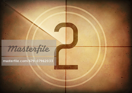 Vintage movie countdown displaying the number 2, computer illustration. Stock Photo - Premium Royalty-Free, Image code: 679-07962033