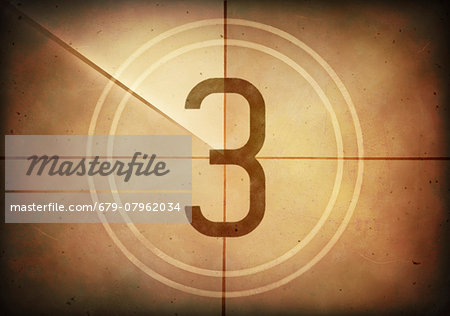 Vintage movie countdown displaying the number 3, computer illustration. Stock Photo - Premium Royalty-Free, Image code: 679-07962034