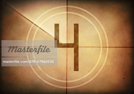 Vintage movie countdown displaying the number 4, computer illustration. Stock Photo - Premium Royalty-Free, Image code: 679-07962035