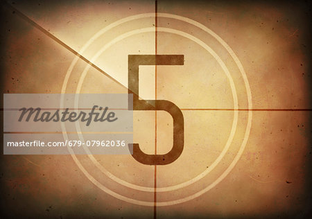 Vintage movie countdown displaying the number 5, computer illustration. Stock Photo - Premium Royalty-Free, Image code: 679-07962036