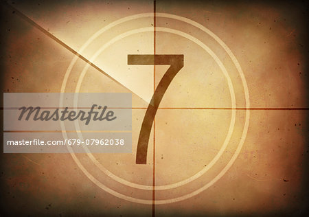 Vintage movie countdown displaying the number 7, computer illustration. Stock Photo - Premium Royalty-Free, Image code: 679-07962038