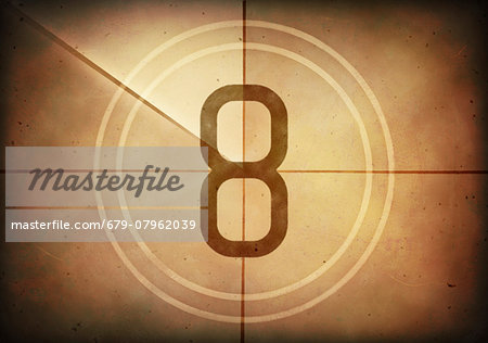 Vintage movie countdown displaying the number 8, computer illustration. Stock Photo - Premium Royalty-Free, Image code: 679-07962039