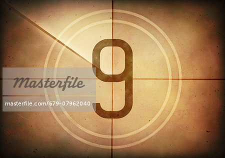 Vintage movie countdown displaying the number 9, computer illustration. Stock Photo - Premium Royalty-Free, Image code: 679-07962040