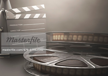 Old fashioned movie reel and clapperboard, computer illustration. Stock Photo - Premium Royalty-Free, Image code: 679-07962042