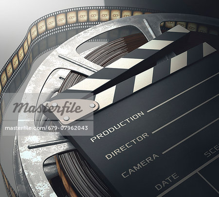 Old fashioned movie reel and clapperboard, computer illustration. Stock Photo - Premium Royalty-Free, Image code: 679-07962043