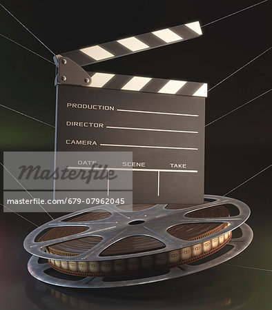 Old fashioned movie reel and clapperboard, computer illustration. Stock Photo - Premium Royalty-Free, Image code: 679-07962045