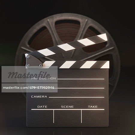 Old fashioned movie reel and clapperboard, computer illustration. Stock Photo - Premium Royalty-Free, Image code: 679-07962046