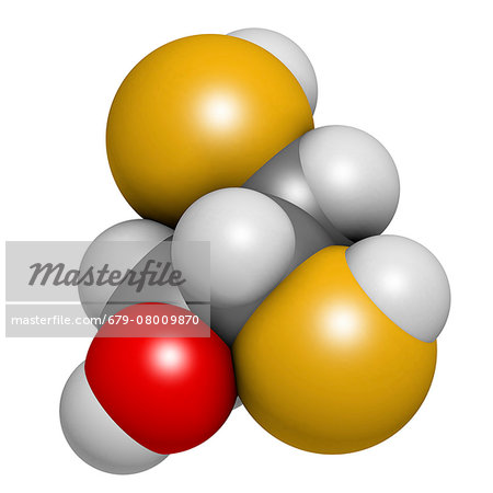 Dimercaprol (BAL, British Anti-Lewisite) metal poisoning antidote molecule. Atoms are represented as spheres with conventional color coding: hydrogen (white), carbon (grey), oxygen (red), sulfur (yellow). Stock Photo - Premium Royalty-Free, Image code: 679-08009870
