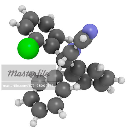 Clotrimazole antifungal drug molecule. Used in treatment of athlete's foot, ringworm, vaginal yeast infection, oral thrush, etc. Atoms are represented as spheres with conventional color coding: hydrogen (white), carbon (grey), nitrogen (blue), chlorine (green). Stock Photo - Premium Royalty-Free, Image code: 679-08009878