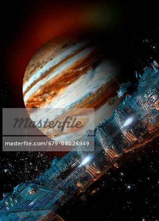 Spacecraft in Jupiter orbit, illustration Stock Photo - Premium Royalty-Free, Image code: 679-08026949