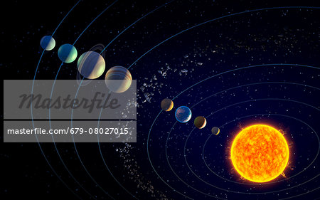 The solar system, illustration Stock Photo - Premium Royalty-Free, Image code: 679-08027015