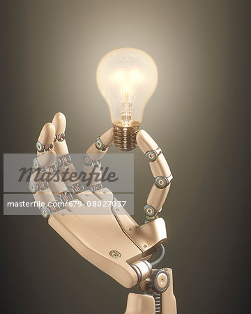 Robotic hand holding a light bulb Stock Photo - Premium Royalty-Free, Image code: 679-08027037