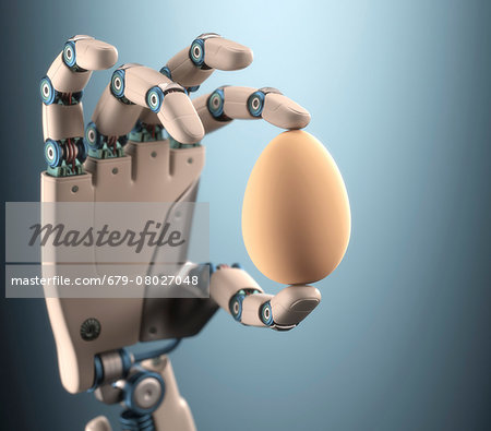 Robotic hand holding egg, illustration Stock Photo - Premium Royalty-Free, Image code: 679-08027048