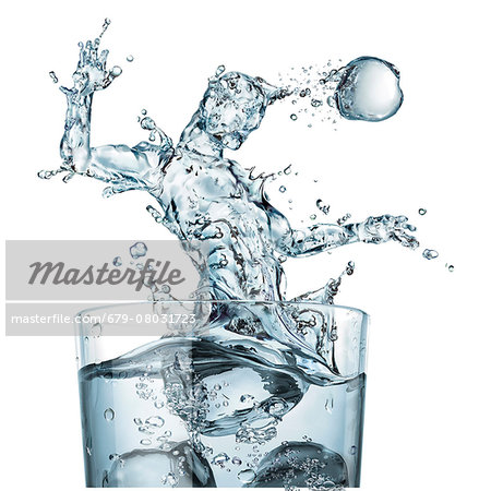 Glass of water and splashes, illustration Stock Photo - Premium Royalty-Free, Image code: 679-08031723