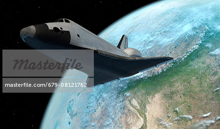 Space shuttle above the Earth, computer illustration. Stock Photo - Premium Royalty-Free, Image code: 679-08121762