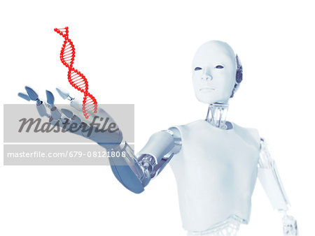 Robot holding a DNA (deoxyribonucleic acid) molecule, computer illustration. Stock Photo - Premium Royalty-Free, Image code: 679-08121808