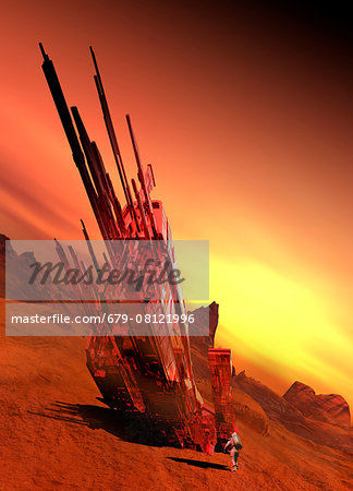 Spaceship on planet, computer illustration. Stock Photo - Premium Royalty-Free, Image code: 679-08121996
